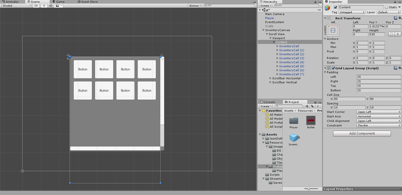 Вид инвентаря в Unity3d